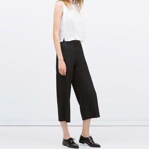 Zara high waist wide leg crop pants